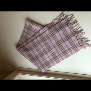 Burberry wool scarf, pink plaid, excellent cond.